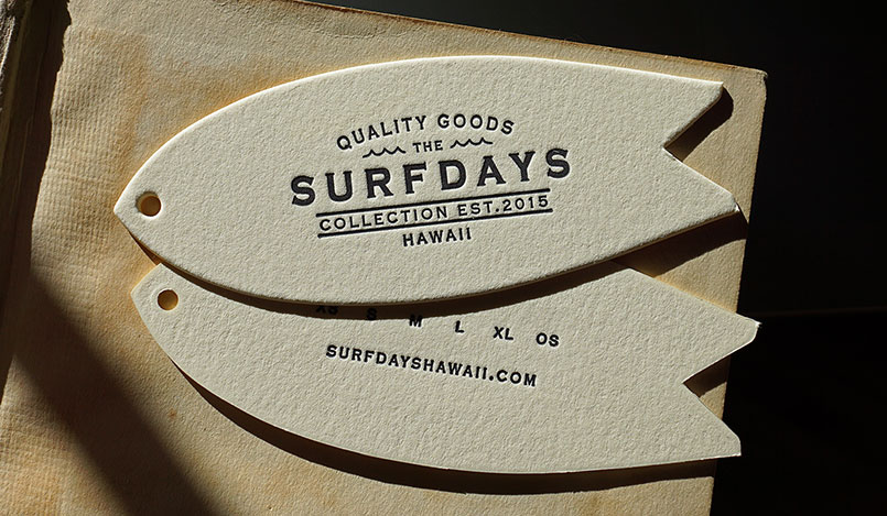 Die Cut & Letterpress Printed Surfdays Tags